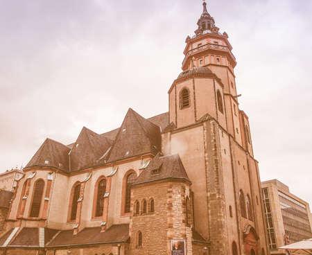 performed: LEIPZIG, GERMANY - JUNE 14, 2014: Nikolaikirch St Nicholas Church in Leipzig Germany where Johann Sebastian Bach performed the world premiere of St John Passion vintage