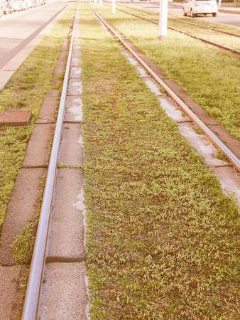 railway transportation: Railway or railroad tracks for train transportation vintage Stock Photo