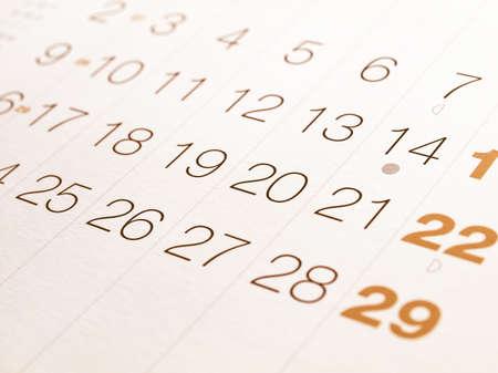 Detail einer Kalender-Seite mit Daten Jahrgang Standard-Bild - 53531970