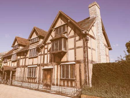 william shakespeare: William Shakespeare birthplace in Stratford Upon Avon, UK vintage Editorial