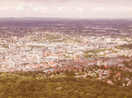 center city: View of the city of Stuttgart in Germany vintage Stock Photo