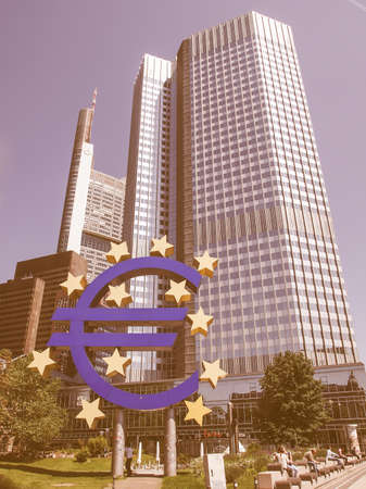banco mundial: FRANKFURT AM MAIN, GERMANY - JULY 5: The world famous building of the European Central Bank. on July 5, 2013 in Frankfurt am Main, Germany vintage