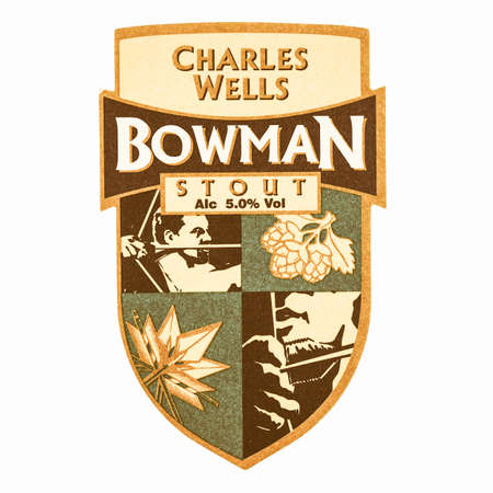bowman: LONDON, UK - MARCH 15, 2015: Beermat of British beer Charles Wells Bowman Stout isolated over white background vintage