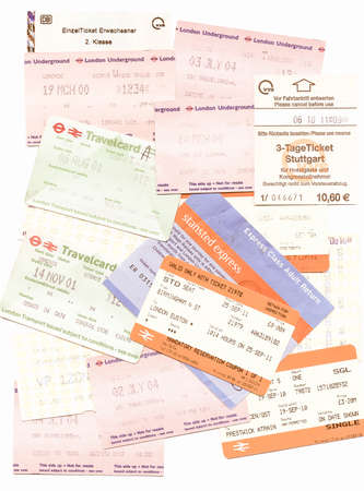 illustrative editorial: LONDON. UK - JANUARY 23, 2014: Illustrative editorial British and German public transport tickets for train bus and subway vintage