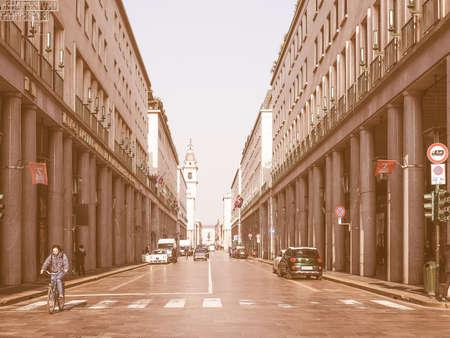 via: TURIN, ITALY - FEBRUARY 19, 2015: Via Roma is the main central high street in Turin vintage