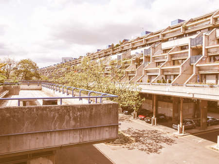 public housing: LONDON, ENGLAND, UK - MAY 06, 2010: The Alexandra Road estate designed in 1968 by Neave Brown applies the terraced house model to high-density public housing is a masterpiece of new brutalist architecture vintage