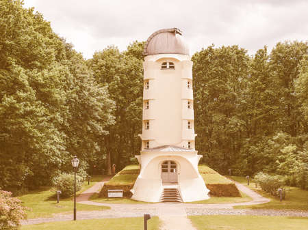 albert: POTSDAM, GERMANY - MAY 10, 2014: The Einstein Turm astrophysical observatory was designed by architect Erich Mendelsohn in 1917 for Albert Einstein to validate his Relativity Theory vintage