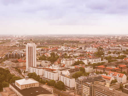 leipzig: LEIPZIG, GERMANY - JUNE 14, 2014: Aerial view of the city vintage