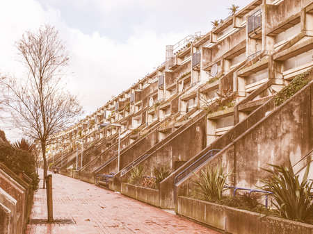 alexandra: LONDON, ENGLAND, UK - MARCH 04, 2009: The Alexandra Road estate designed in 1968 by Neave Brown applies the terraced house model to high-density public housing is a masterpiece of new brutalist architecture vintage