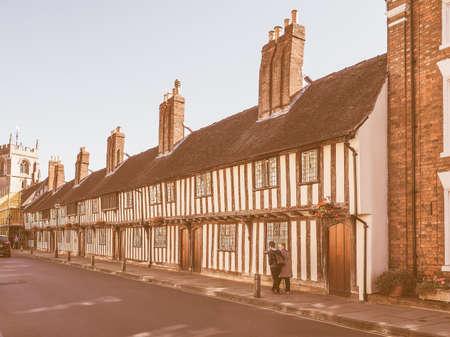 birthplace: STRATFORD UPON AVON, UK - SEPTEMBER 26, 2015: View of the city of Stratford birthplace of Shakespeare vintage