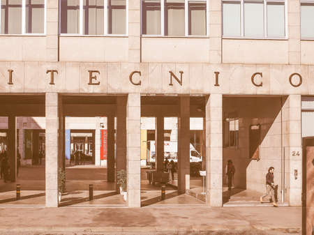 oldest: TURIN, ITALY - FEBRUARY 25, 2015: The Politecnico di Torino meaning Polytechnic University of Turin is the oldest public technical university in Italy, established in 1859 vintage