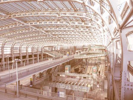 railway: TURIN, ITALY - JANUARY 23, 2015: Passengers in the new Torino Porta Susa main railway and subway station vintage Editorial