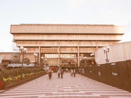 masterpiece: BIRMINGHAM, UK - SEPTEMBER 24, 2015: Birmingham Central Library iconic masterpiece of New Brutalism designed by John Madin in 1974 is now threated of demolition vintage