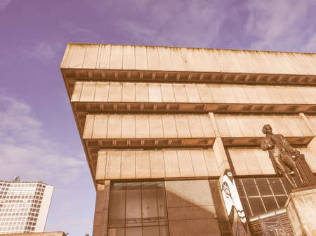 masterpiece: BIRMINGHAM, UK - SEPTEMBER 25, 2015: Birmingham Central Library iconic masterpiece of New Brutalism designed by John Madin in 1974 is now threated of demolition vintage