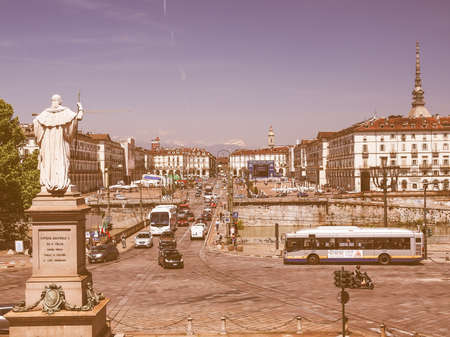 ii: TURIN, ITALY - JUNE 20, 2014: The Piazza Vittorio Emanuele II square in Turin Italy vintage