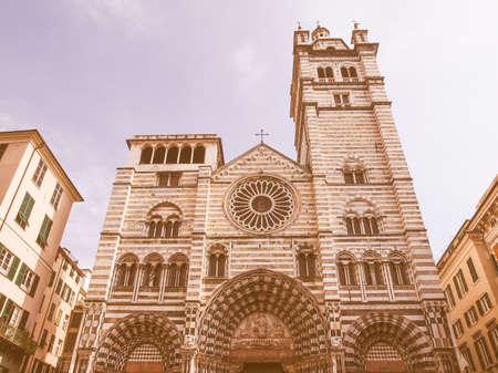 lorenzo: Genoa Cathedral aka Duomo di Genova or Cattedrale di San Lorenzo seat of the Archbishop of Genoa vintage