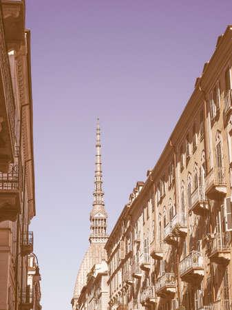 piedmont: The Mole Antonelliana Turin Torino Piedmont Italy vintage Stock Photo