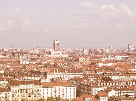birdeye: City of Turin (Torino) skyline panorama seen from the hill vintage