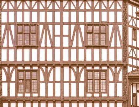 tudor: Ancient wooden frame Tudor building in Coventry, UK vintage