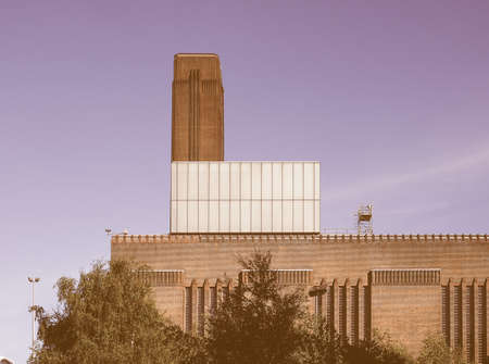 powerstation: Tate Modern art gallery in South Bank power station in London, UK vintage Editorial