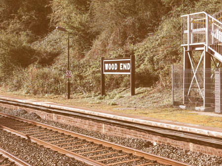 arden: Wood End railway station on the Stratford upon Avon to Birmingham route in Tanworth in Arden, UK vintage