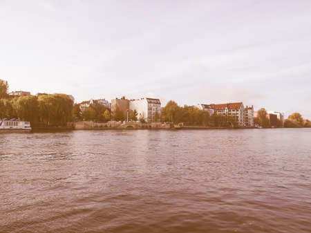 or spree: The river Spree in the town of Berlin, Germany vintage