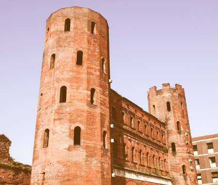 palatine: Porte Palatine Roman gates in Turin, Italy vintage