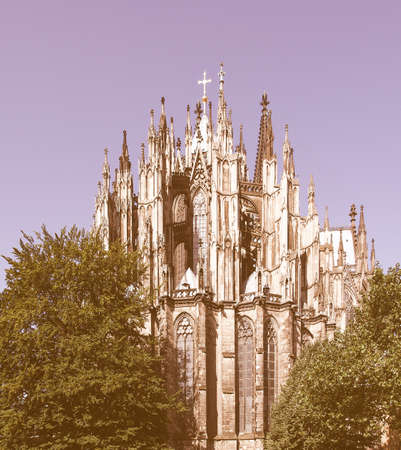 Koelner Dom, gothic cathedral church in Koeln (Cologne), Germany - rectilinear frontal view vintage Stock Photo