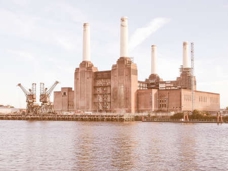battersea: Battersea Power Station in London England UK vintage Editorial
