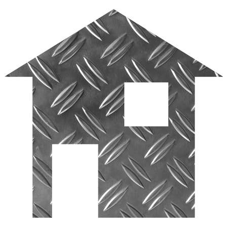 relocate: Steel house 2d model illustration isolated over white Stock Photo