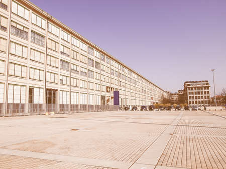 dismissed: Industrial architecture of the old Torino Lingotto dismissed car factory in Turin Italy vintage