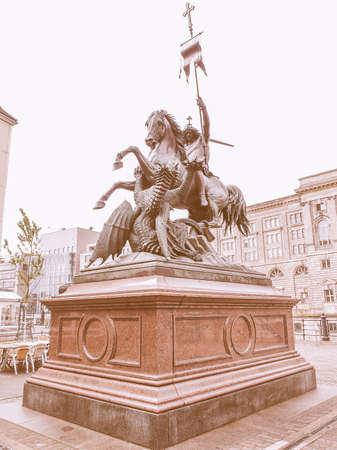 st german: St Georgs Denkmals Saint George monument in Berlin Germany designed in 1855 by German sculpture August Kiss vintage Stock Photo