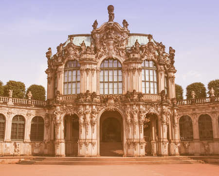 addition: Dresdner Zwinger rococo palace designed by Poeppelmann in 1710 as orangery and exhibition gallery of Dresden Court completed by Gottfried Semper with the addition of the Semper Gallery in 1847 vintage