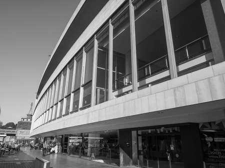 venue: LONDON, UK - SEPTEMBER 28, 2015: The Royal Festival Hall built as part of the Festival of Britain national celebrations in 1951 is still in use as a major music and entertainment venue in black and white Editorial