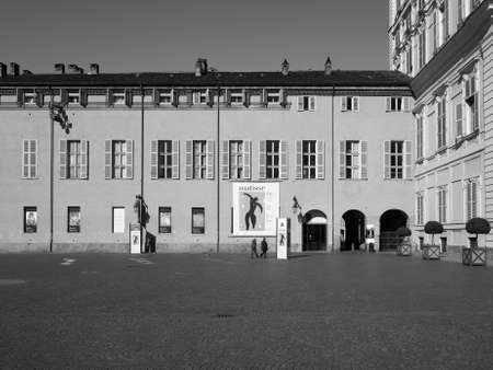TURIN, ITALY - CIRCA MARCH 2016: Entrance to the Henri Matisse exhibition at Palazzo Chiablese in black and white Editorial