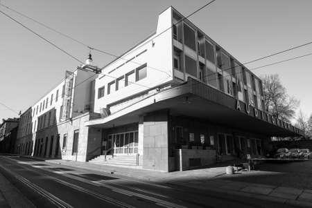arturo: TURIN, ITALY - CIRCA MARCH 2016: Auditorium RAI music hall designed by architect Carlo Mollino in 1958 dedicated to music director Arturo Toscanini in black and white