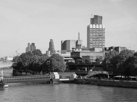 sir: LONDON, UK - SEPTEMBER 29, 2015: The National Theatre designed by Sir Denys Lasdun is a masterpiece of new brutalist architecture in black and white