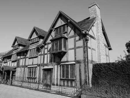 william: STRATFORD UPON AVON, UK - SEPTEMBER 26, 2015: William Shakespeare birthplace in black and white