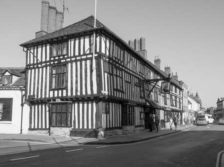 stratford: STRATFORD UPON AVON, UK - SEPTEMBER 26, 2015: View of the city of Stratford birthplace of Shakespeare in black and white