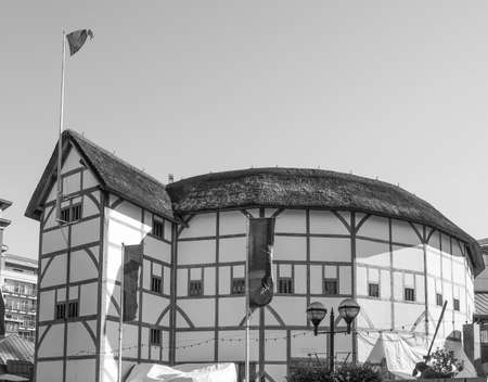 LONDON, UK - SEPTEMBER 28, 2015: The Shakespeare Globe Theatre in black and white Editorial