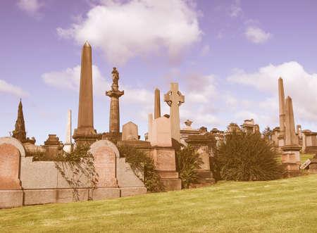 necropolis: The Glasgow necropolis, Victorian gothic garden cemetery in Scotland vintage Editorial