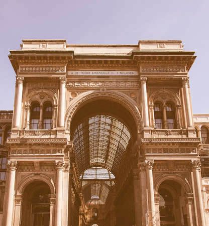 vittorio: Galleria Vittorio Emanuele II in Milan Italy vintage Stock Photo
