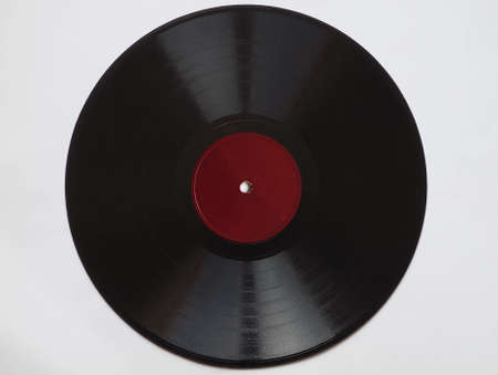 Vintage 78 rpm music record with blank red label