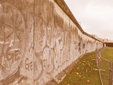 mauer: The Berlin Wall (Berliner Mauer) in Germany vintage Stock Photo