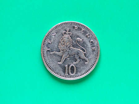 pence: British Pound coin currency of the United Kingdom - Ten Pence