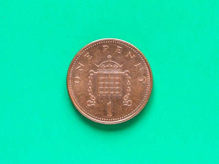 penny: British Pound coin currency of the United Kingdom - One Penny
