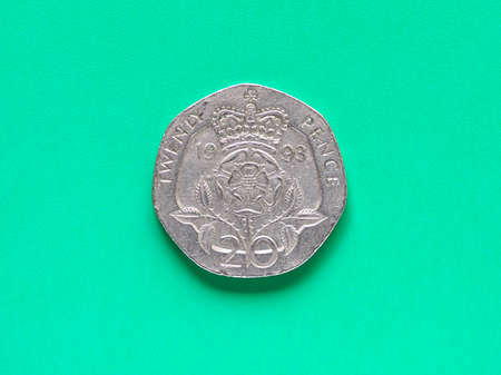 pence: British Pound coin currency of the United Kingdom - Twenty Pence