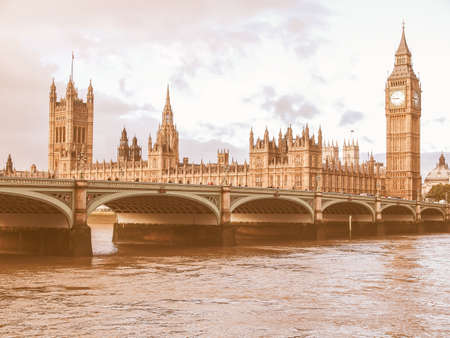 westminster bridge: Westminster Bridge panorama with the Houses of Parliament and Big Ben in London UK vintage Stock Photo