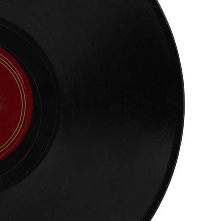 hit tech: Detail of vintage 78 rpm music record isolated over white with copy space