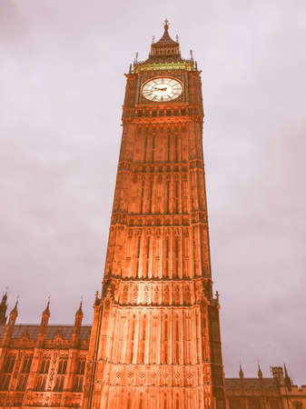 gothic architecture: Big Ben Houses of Parliament Westminster Palace London gothic architecture - at night vintage
